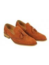 Handmade Men's Wing Tip Brogues Tassel Suede Slip Ons Loafer Shoes image 5