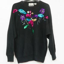 Marnie West VTG Sweater M Womens Sequin Floral Knit Black Pink Purple Blue - $27.61
