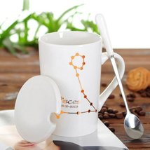 Pisces White Bone Mug With Stainless Steel Spoon Zodiac Ceramic Cup 400ML - $54.74