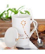 Pisces White Bone Mug With Stainless Steel Spoon Zodiac Ceramic Cup 400ML - $35.35
