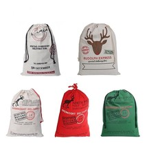 Christmas Santa Sacks Cotton Reindeer Navidad Gift Holders Candy Bag Dec... - €33,42 EUR