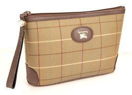 Auth Burberry Nova Check Brown Fabric Leather Clutch / Secondary Hand bag Japan - $137.61