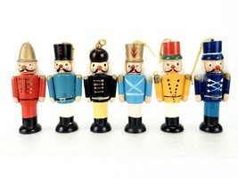 Set of 6 Vintage Nutcracker Ornaments, Colorful Toy Soldier Miniature Fi... - $14.65