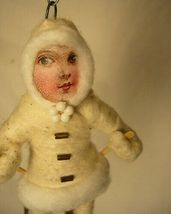 Vintage Inspired Spun Cotton Christmas, Winter Ornament Skier Girl No. 92 image 3