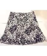 Gap Skirt 14 Black White Floral A-Line Linen Cotton Blend Lined Womens F... - $9.89