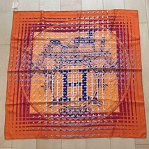 Hermes Scarf Stole 24 FAUBOURG SECONDE Orange Silk Carre 90 Auth New Unu... - $11.336,28 MXN