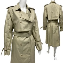 Vintage London Fog women's Belted lined trench coat sand button size 14 ... - $39.38