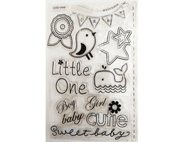 Cute Baby Boy/Girl Clear Stamp Set, Includes Flowers, Whale, Bird, & Sentiments