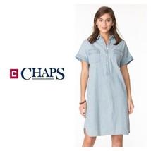 NWT Chaps Women's Medium Light Wash Blue Jean Shirt Dress Cuffed Short S... - £43.60 GBP