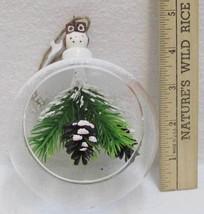 Owl Pinecone Ornament Lodge Cabin Decor Open Glass Ball Living Quarters NEW - $9.85