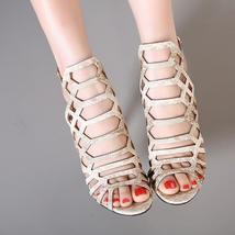 Heel Toe GUMANDUO Sandals Ankle Women Strap Peep Stiletto P High Pumps Gladiator qqpSaz1