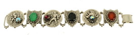 "VINTAGE SELRO SELLINI KNIGHT SHEILD HERALDIC LINK BRACELET 7"" 1"" THICK - $125.99"