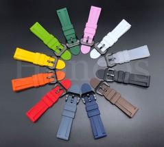 24MM Soft Rubber Black Sport Diver Watch Band Strap Fits Panerai Black Buckle - $10.99