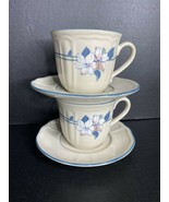 2 Epoch APPLE BLOSSOM Coffee Mugs Cups & Saucer Sets Stoneware  Disconti... - $12.86