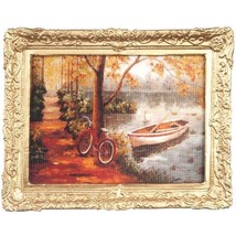 DOLLHOUSE Framed Picture Bicycle and Boat in Autumn  Miniature - $9.40