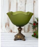 Green Footed Bowl, Frosted Glass Vase Brass Pedestal Hollywood Regency, ... - $143.00