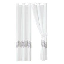4-Pc Adonis Curtain Set|Square Greek Key Geometric Embroidery|White Purple Gray - $40.89