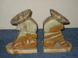 Vintage Pair Marble Book Ends Sleeping Mexicans Mexico Sombrero - $14.80