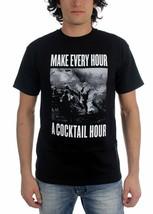 Kr3w Make Jeder Stunde A Cocktail Stunde Schwarz Weiß Grafik T-Shirt Baumwolle