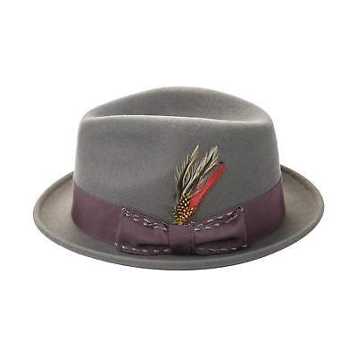 Janetshats Men's Wool Felt Crushable Handmade Bowknot Feather Fedora Hat Grey