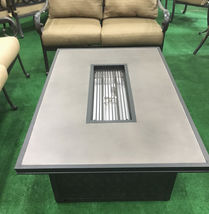 Fire pit propane coffee table height rectangular outdoor cast aluminum patio image 3