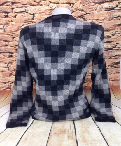 Talbots Womens Chevron Pattern Wool Blend Zip Front Sweater Jacket Made Italy M image 2