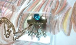 "Vintage Jewelry:15 3""GoldToneChainNecklace W/ 1 1/4""RhinestonePendant 12... - $10.99"