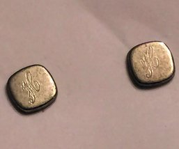 "VTG 60s Silver Tone Post/Back Small Monogrammed ""H"" Square Stud Pierced ... - $16.98"