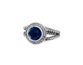 David Yurman Sterling Silver Albion Blue Topaz Cable Ring  - $475.00