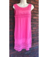 Ladies Small All Cotton G H Bass & Co Embroidery Pink Sundress Sleeveles... - $20.57