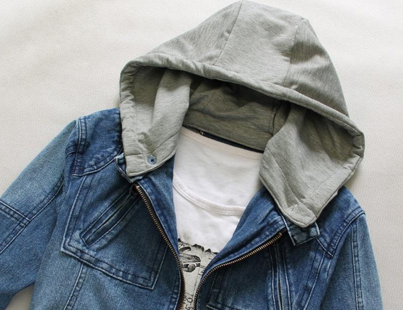 New Men's Plus Denim Jacket Ultra-thin Hooded Men's Denim Jeans Outwear Fashion