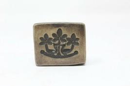 Antique Hand Engraved Floral Bird Carved Brass Pendant Dye Mold Seal Stamp - $60.78