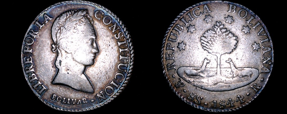 1844-PTS R Bolivian 8 Soles World Silver Coin - Bolivia