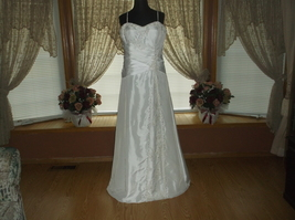 Ivory Silver Beaded Taffeta Wedding Gown - $249.00