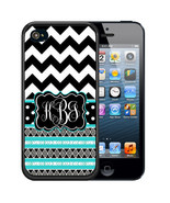 MONOGRAM CASE FOR iPHONE XR XS MAX X 8 7 6 PLUS RUBBER BLACK CHEVRON AZTEC - $13.98