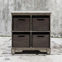 NEW VINTAGE STYLE WORN GRAY HARDWOOD STORAGE CABINET MAHOGANY WOOD DOVET... - $543.40