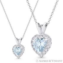 Heart Love Charm Faux Aquamarine Blue CZ Crystal 14k White Gold 12mmx8mm Pendant - $62.99