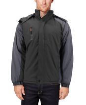 Men's Quilted Lined Removable Hood Two Toned Zipper Puffer Lightweight Jacket image 15