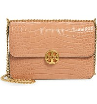 NWT TORY BURCH CHELSEA CROC EMBOSSED LEATHER CONVERTIBLE SHOULDER BAG TW... - $424.74