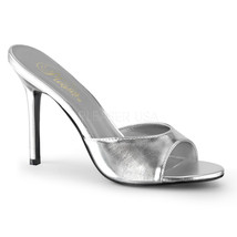 "PLEASER Sexy 4"" High Heel Stilettos Silver Slides Shoes Slippers CLAS01/... - $37.95"
