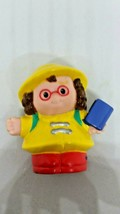Little People Maggie School Girl with Glasses and Yellow Raincoat With Book  - $10.88