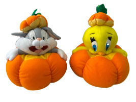 "Halloween Tweedy Bird Bugs Bunny Pumpkin Plush Stuffed Animals 10"" - $15.84"