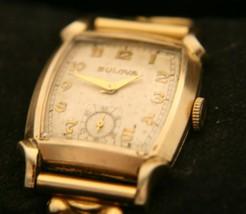 Very nice men's vintage 1950 Swiss Bulova, 17J horned lugs gold dress wr... - $113.85