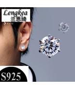 Men earrings women earrings 925 silver piercing stud earring flashing Si... - $31.26
