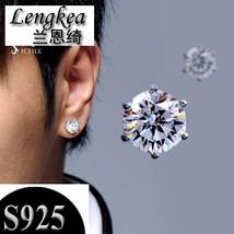 Rrings 925 silver piercing stud earring flashing six claws rhinestone men jewelry women thumb200