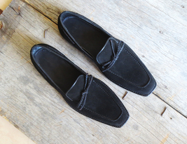 Superior Apron Toe Black Color Leather Tassel Men Loafer Slip Ons Handmade Shoes image 2