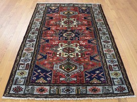"""4'2""""x6'3"""" Pure Wool New Persian Mosel HandKnotted Oriental Rug G40222 - $398.56"""