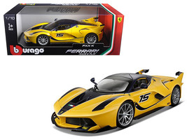 Ferrari FXX-K #15 Yellow 1/18 Diecast Model Car by Bburago - $62.13
