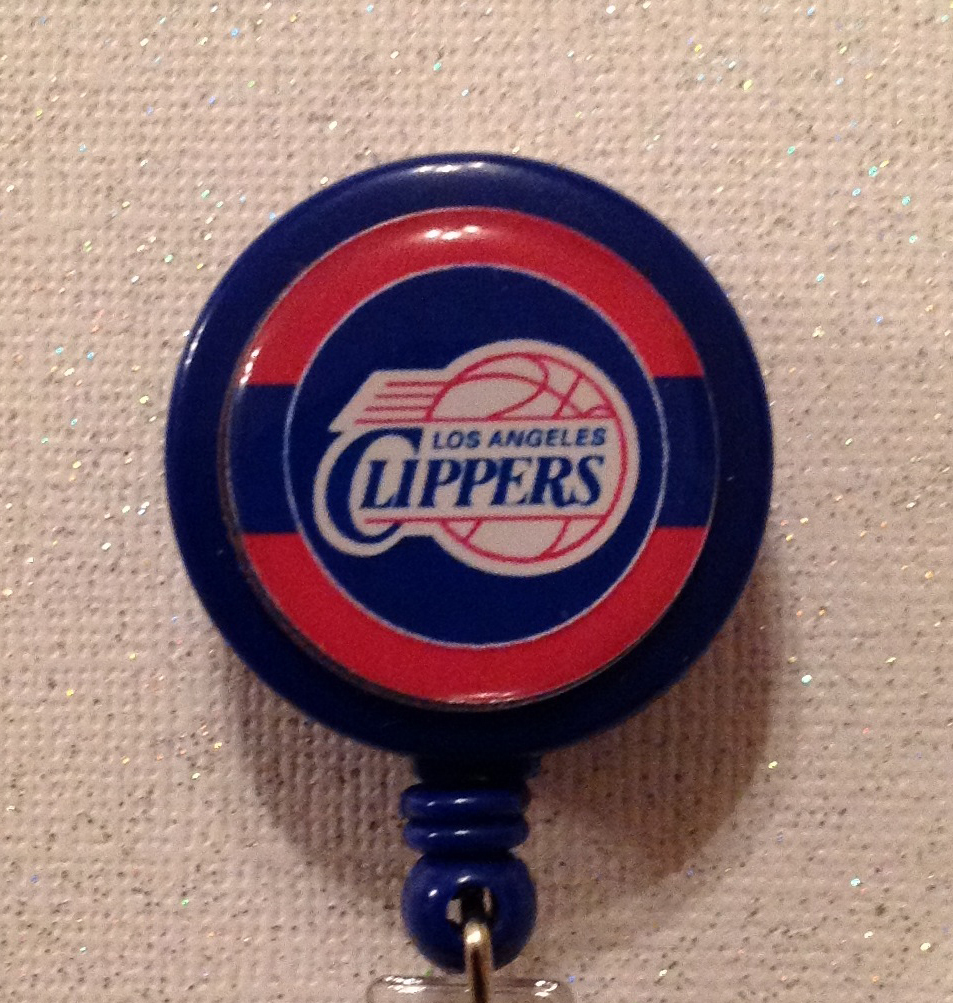 Nba Los Angeles Clippers Badge Reel Id Holder Red Blue Alligator Clip Handmade - $8.99