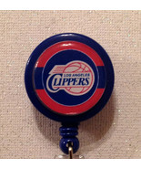 Nba Los Angeles Clippers Badge Reel Id Holder Red Blue Alligator Clip Ha... - $8.99